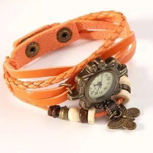 Faux Leather Bracelet Butterfly Quartz Wrist Watch